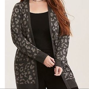 Torrid Blanket Soft Open Front Leopard Cardigan